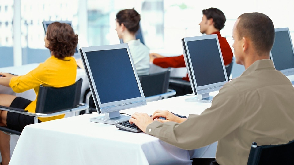 rear view of four business executives using computers in an office